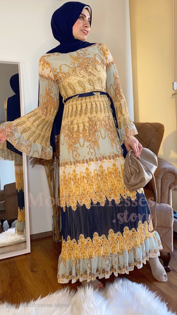 Amazing Gold Blue Print Hijab Modest Dress 2020 - Aynour.com