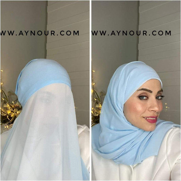 BABY BLUE 2 layers inner cab and scarf Instant Hijab 2021 - Aynour.com