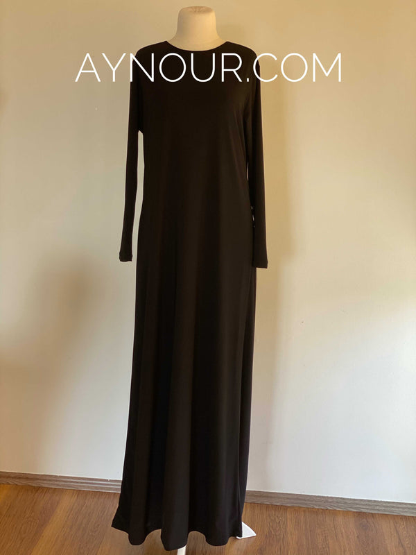 Basic Black Under Dress with Sleeve For Abaya and Transparent Dresses - Aynour.com