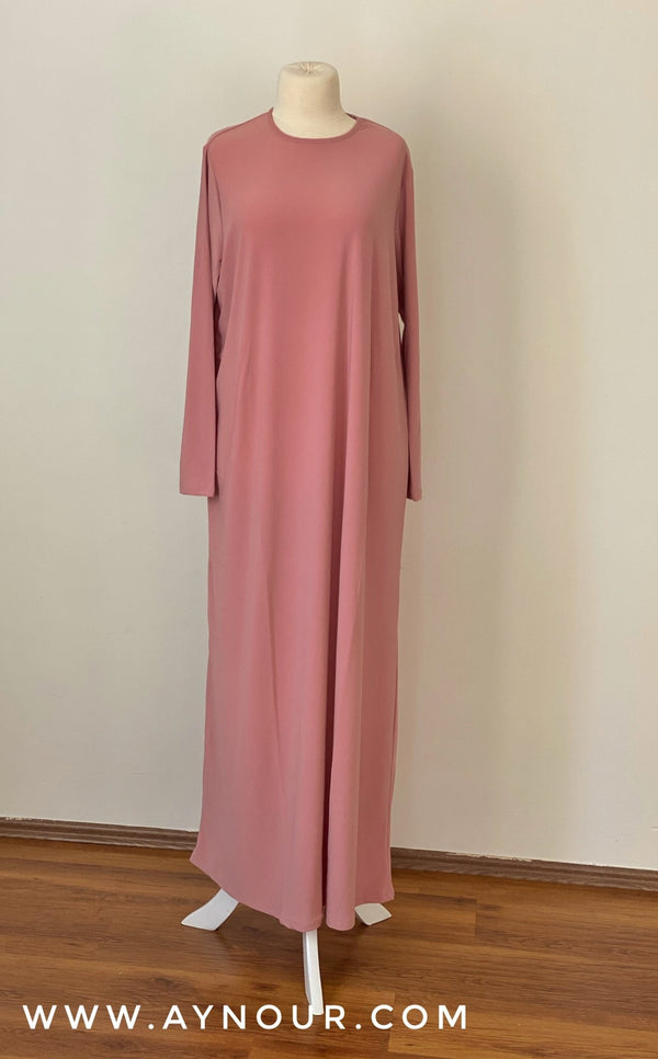 Basic rosy Under Dress with Sleeve For Abaya and Transparent Dresses - Aynour.com