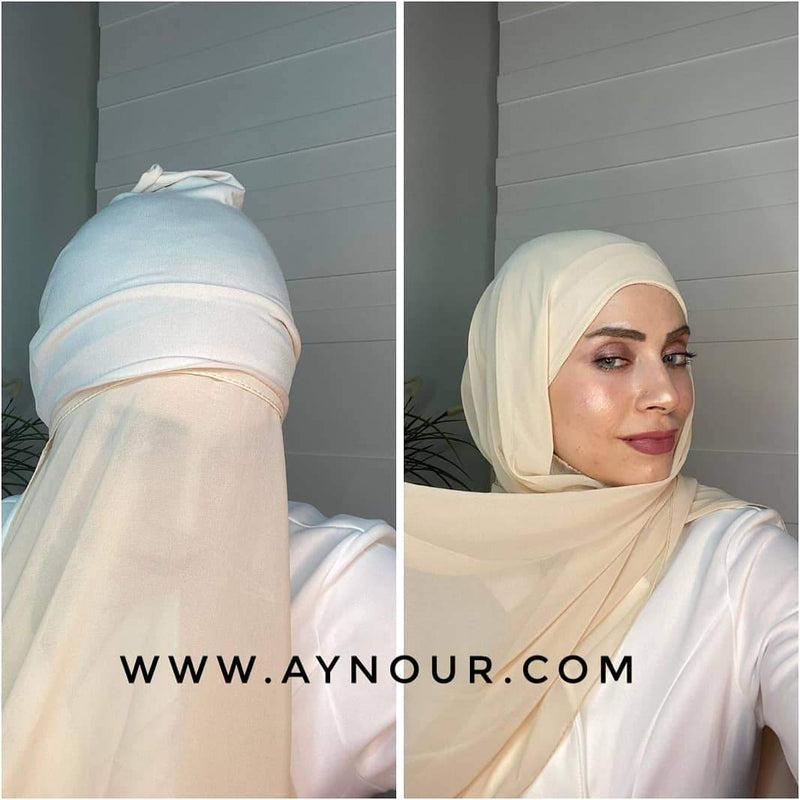 Beige 2 layers inner cab and scarf Instant Hijab 2021 - Aynour.com