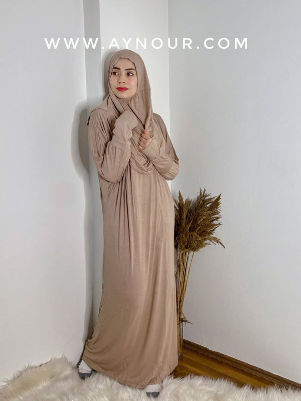 Beige Breathable Prayer 1Piece Headscarf and long jilbab attached Islamic Hijab Luxurious Cotton Lycra - Aynour.com