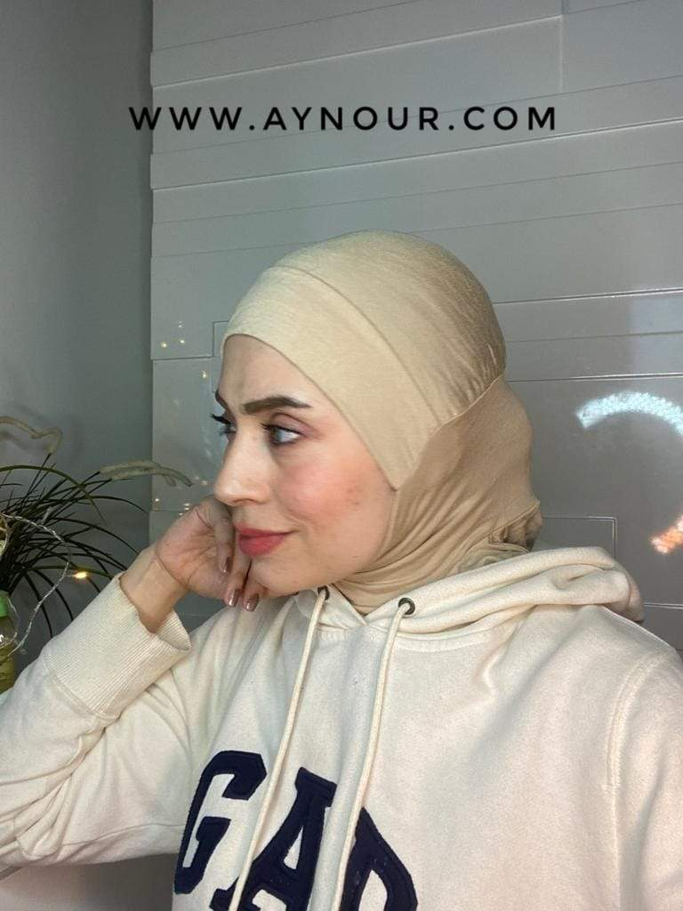 beige cap and neck covering sporty cotton Best Instant Hijab 2021 - Aynour.com