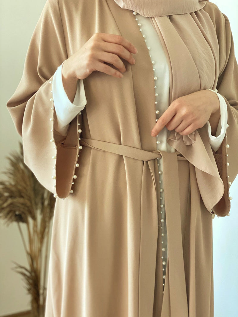 Beige Glory with pearls Abaya one size - Aynour.com