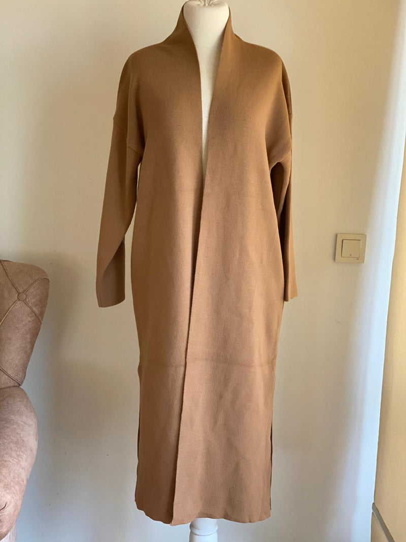 Beige long Winter Tunic jacket Monto - Aynour.com