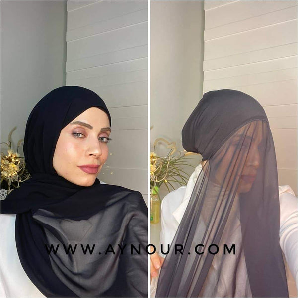 Black 2 layers inner cab and scarf Instant Hijab 2021 - Aynour.com