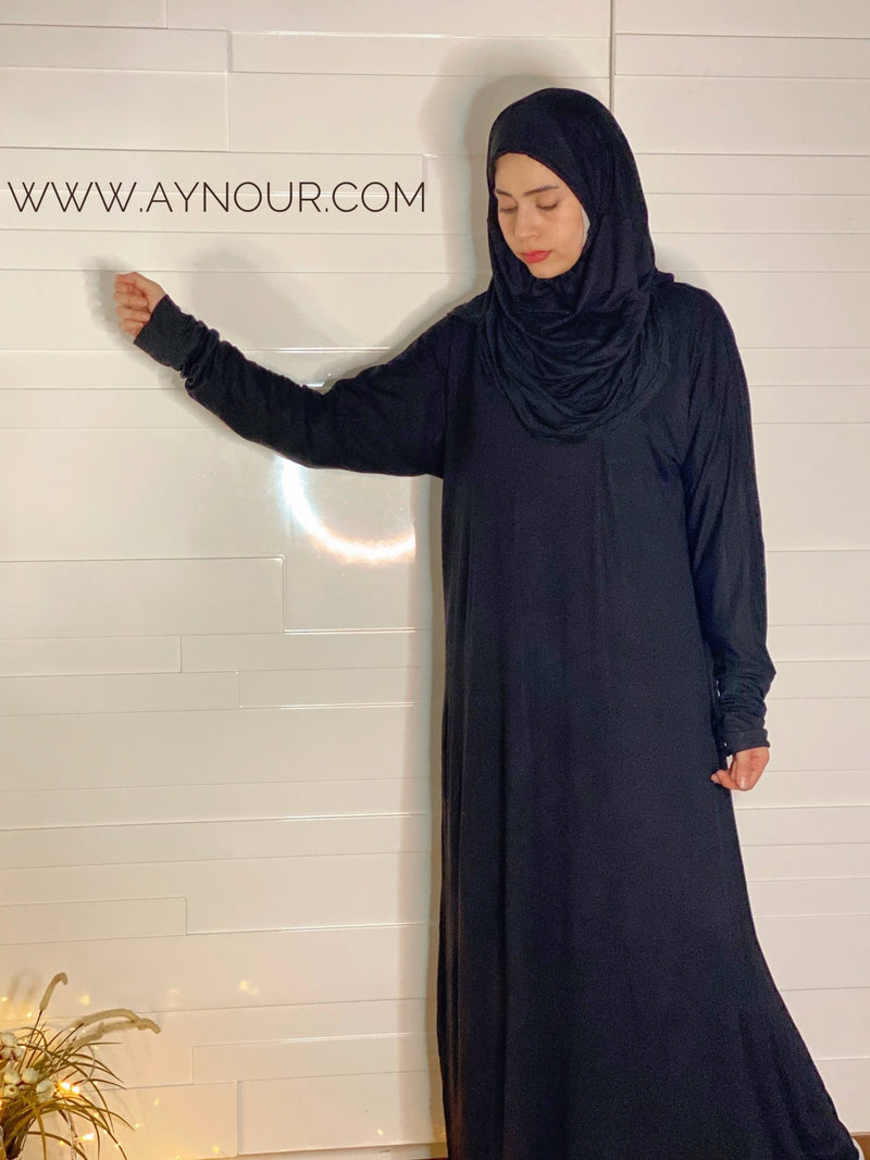Black Breathable Prayer 1Piece Headscarf and long jilbab attached Islamic Hijab Luxurious Cotton Lycra - Aynour.com