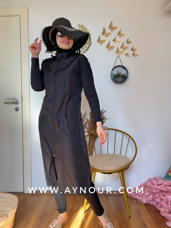 Black butterfly full suit 4 pieces swimming wear hijab burkini Collection - Aynour.com