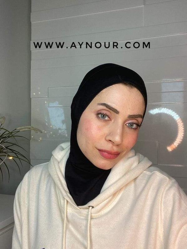 Black Color cap and neck covering sporty cotton Best Instant Hijab 2021 - Aynour.com