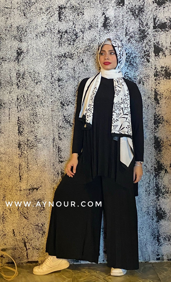 Black color Wide one size Islamic classy suit 2 pieces top and pant - Aynour.com