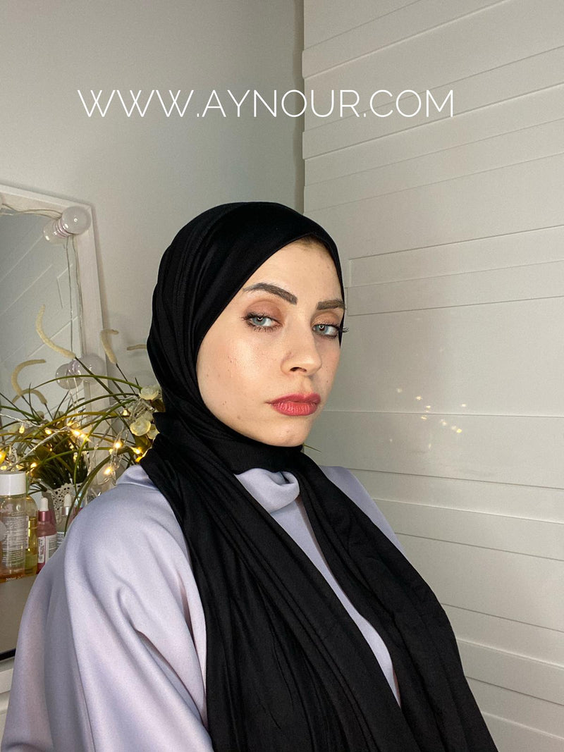 black cotton luxrious smart no pin scarf Instant Hijab 2021 - Aynour.com