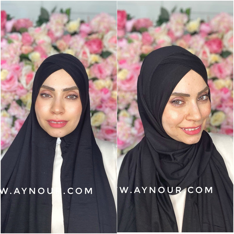 Black instant cotton cross luxrious smart no pin scarf Instant Hijab 2021 - Aynour.com
