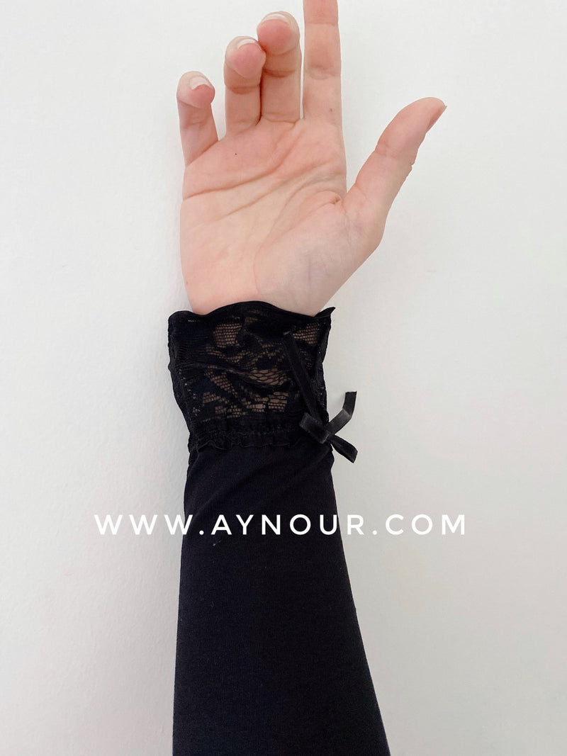 Black lace end Arm Cover Up Sleeve basic hijab needs - Aynour.com