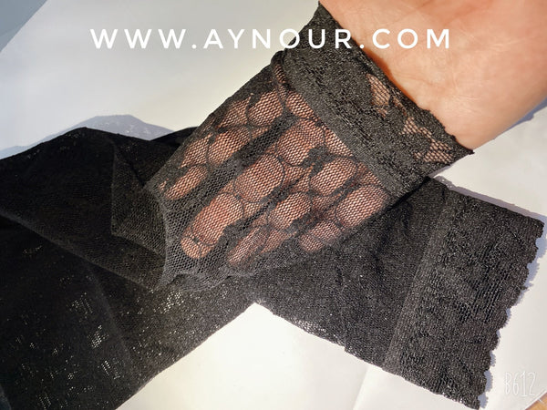 Black lace Full Arm Cover Up Sleeve basic hijab need - Aynour.com