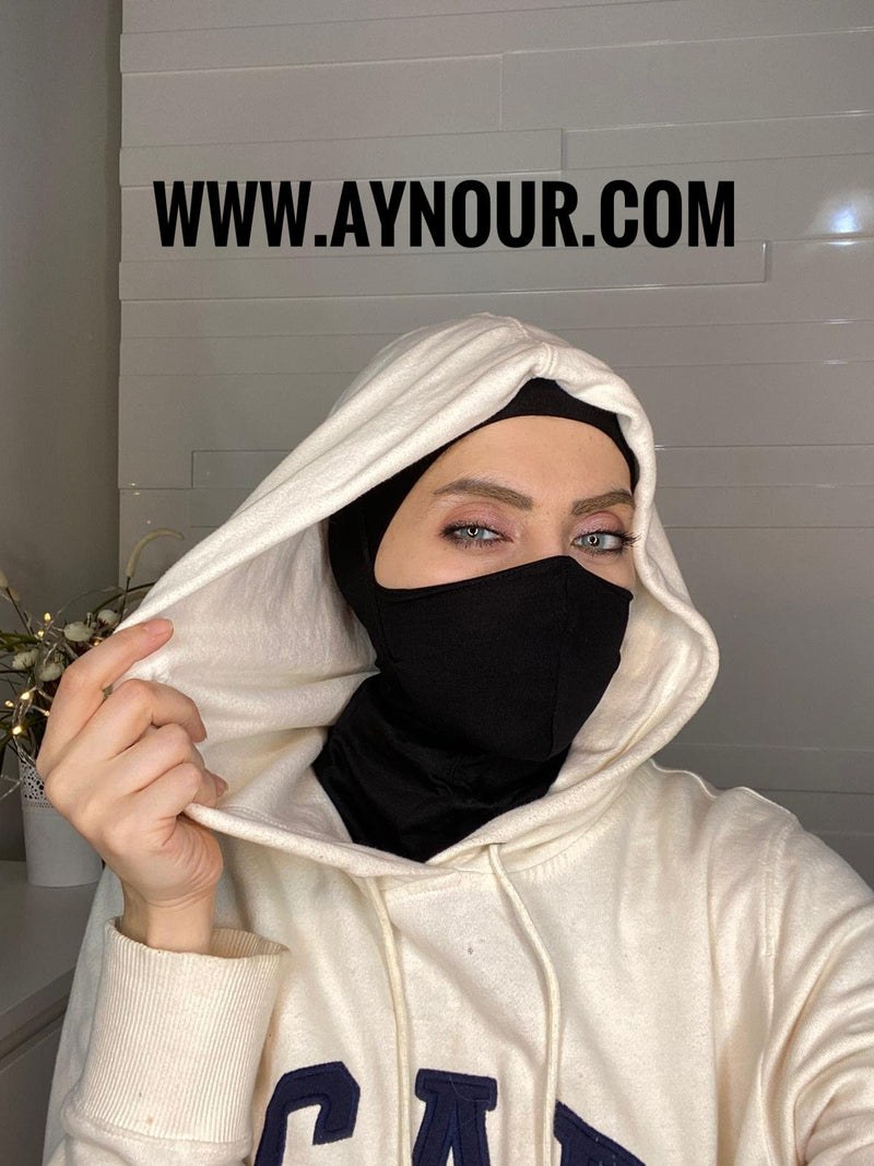 black mask hijab cab cotton Best Instant Hijab 2021 - Aynour.com