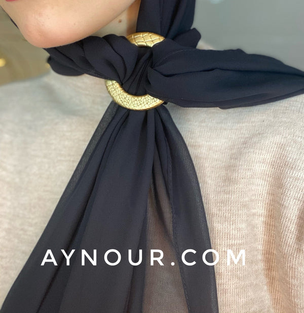 Black new pin luxurious color Hijab 2021 - Aynour.com