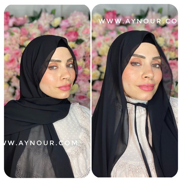 Black new ribbon no pin chiffon scarf Instant Hijab 2021 - Aynour.com
