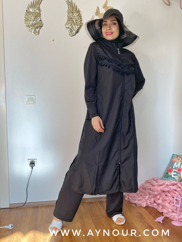 Black plus big size full suit 4 pieces swimming wear hijab burkini Collection - Aynour.com