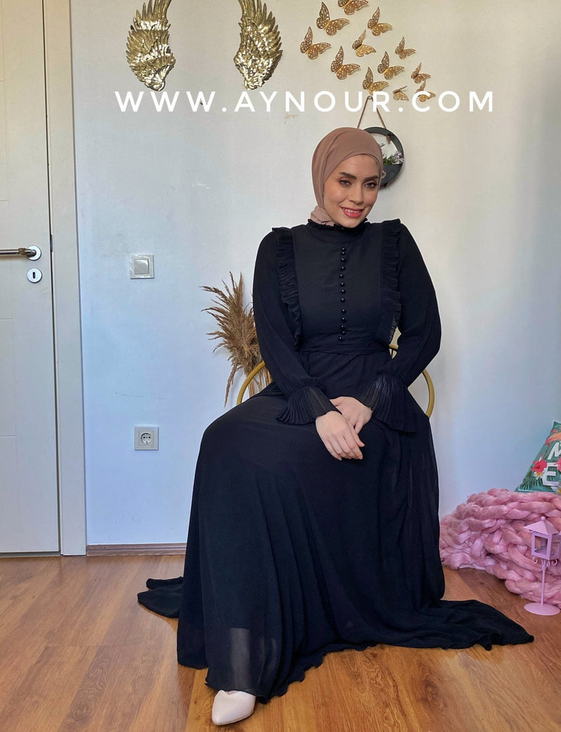 Black royal Modest Dress with belt Eid collection 2021 - Aynour.com