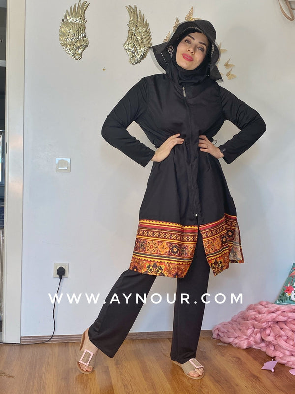 Black with classy drawing full suit 4 pieces swimming wear hijab burkini Collection - Aynour.com