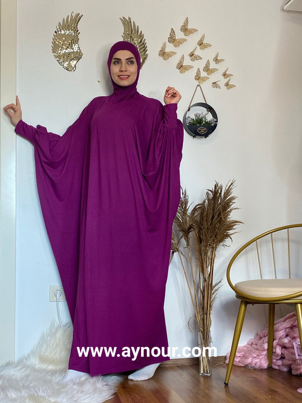 Bright purple Breathable Prayer 1Piece Headscarf and long jilbab abaya many styles Hijab Luxurious Cotton Lycra - Aynour.com