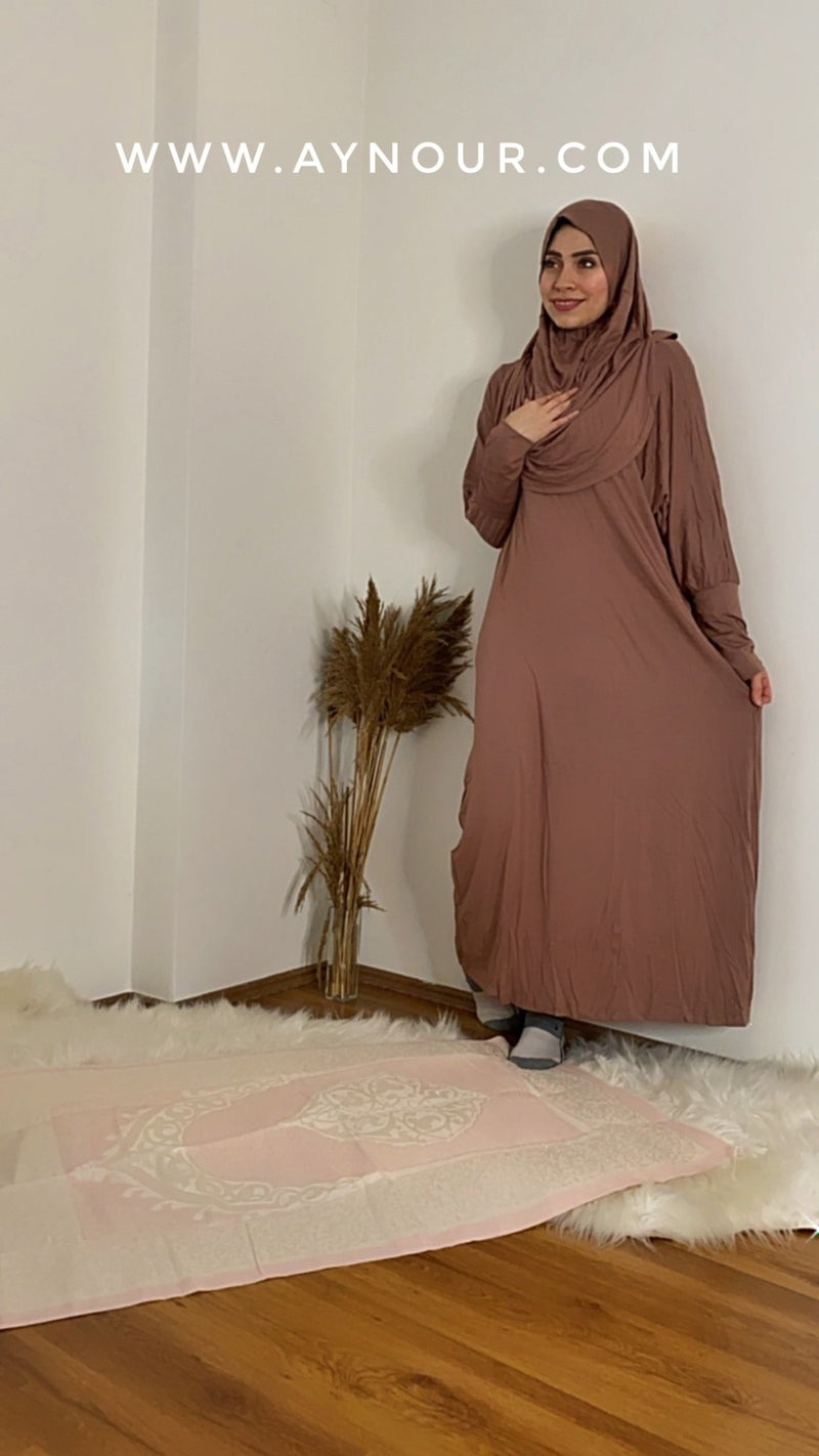Brown Breathable Prayer 1Piece Headscarf and long jilbab attached Islamic Hijab Luxurious Cotton Lycra - Aynour.com