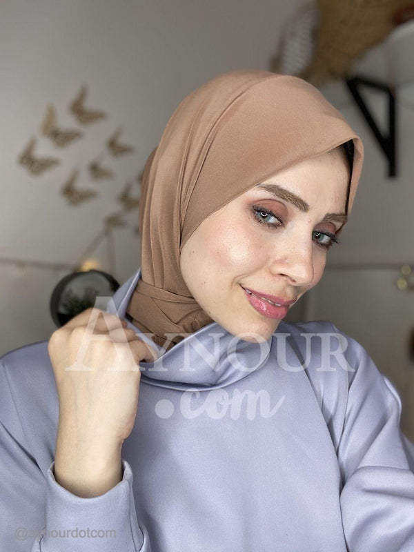 Brown Color Best Instant Hijab 2021 - Aynour.com