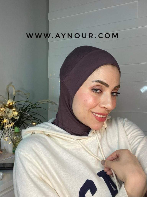 brown Color cap and neck covering sporty cotton Best Instant Hijab 2021 - Aynour.com