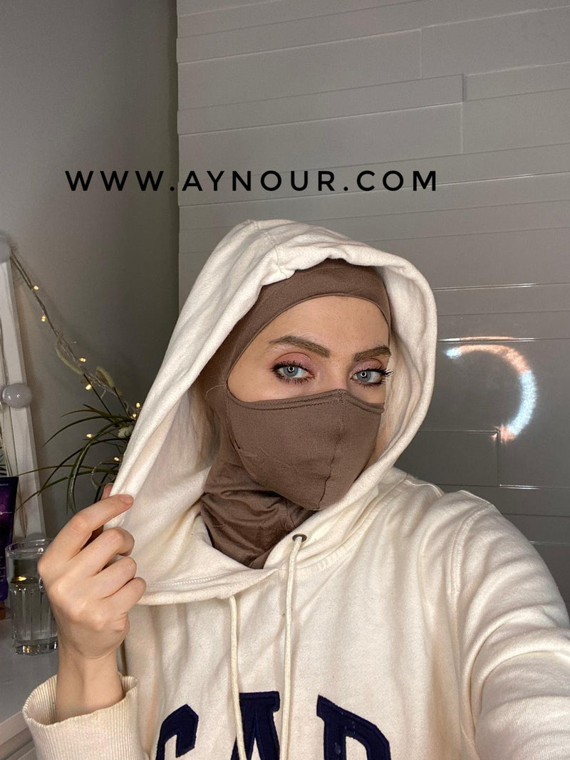 brown mask hijab cab cotton Best Instant Hijab 2021 - Aynour.com