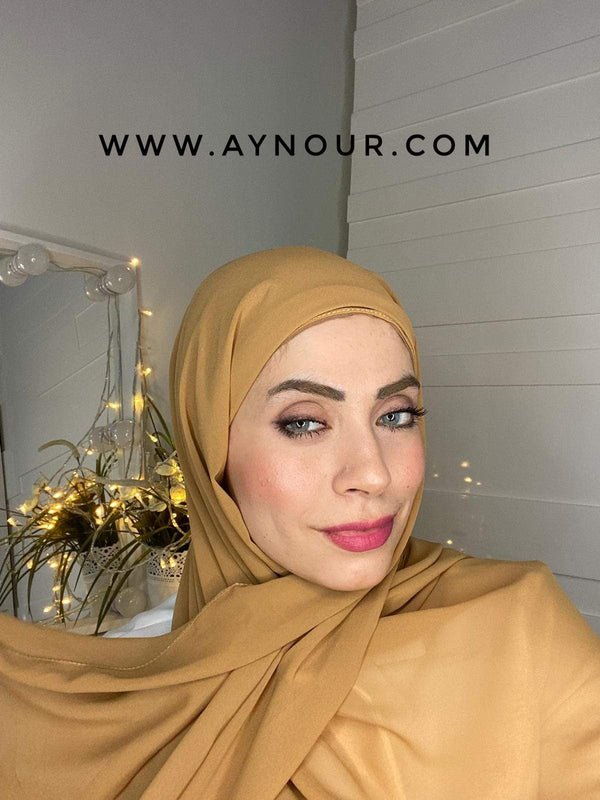 CARAMEL BEAIGE layers inner cab and scarf Instant Hijab 2021 - Aynour.com
