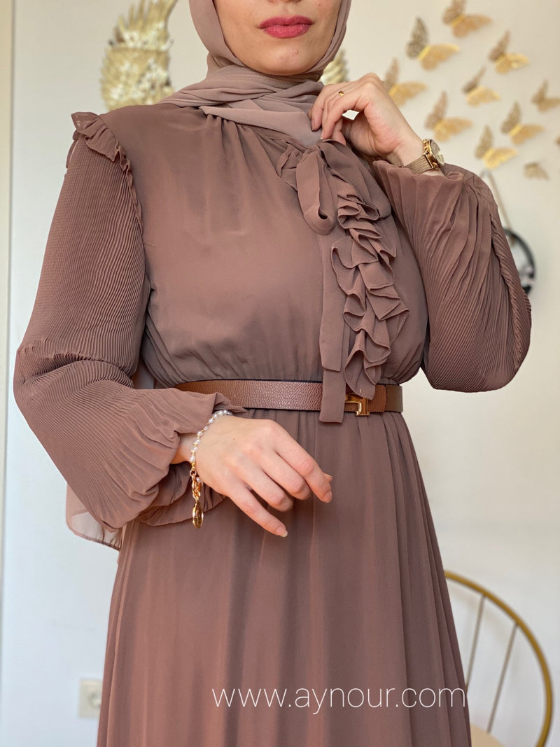 Chocolate royal Modest Dress Eid collection 2021 - Aynour.com
