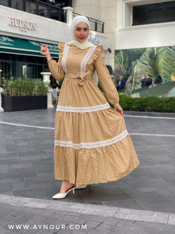 Cinderella yellow Modest Dress with belt spring collection 2021 - Aynour.com