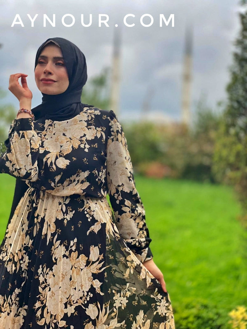 Classy Flower Prints Modest Dress 2020 - Aynour.com