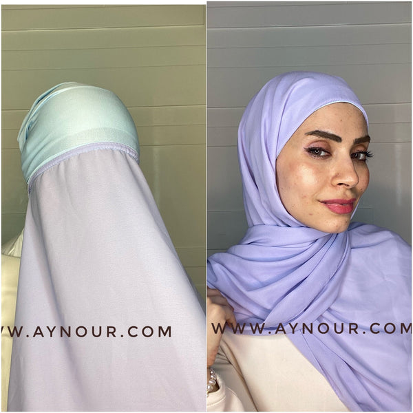 Corn flower 2 layers inner cab and scarf Instant Hijab 2021 - Aynour.com