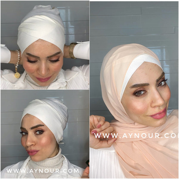 Cross Under scarf white tube Hijab 2021 - Aynour.com