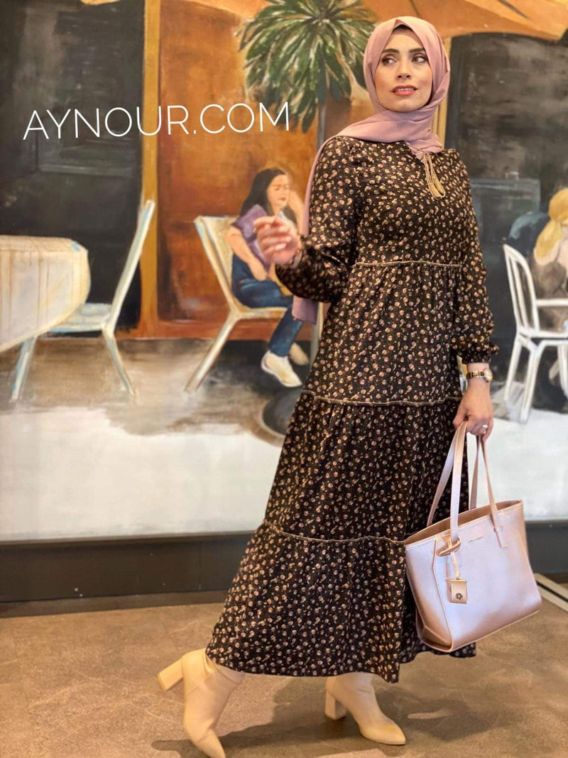 Cute Flowers Winter Collection Modest Dress 2020 - Aynour.com