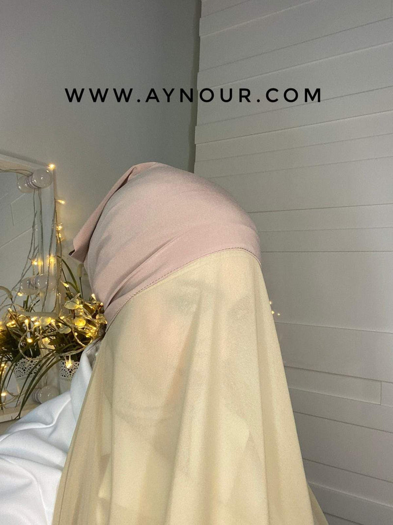 DARK BEAIGE layers inner cab and scarf Instant Hijab 2021 - Aynour.com