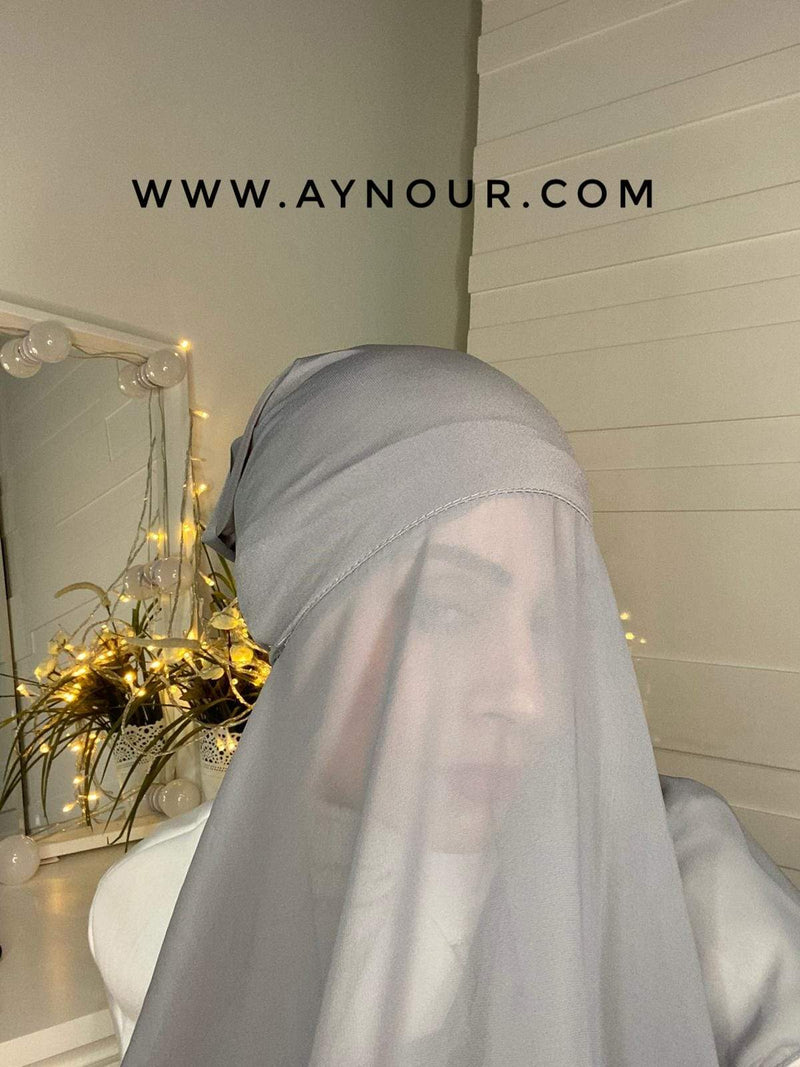 DARK GRAY 2 layers inner cab and scarf Instant Hijab 2021 - Aynour.com