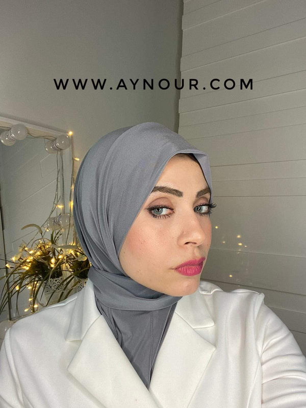 Dark Gray Color Best Instant Hijab 2021 - Aynour.com