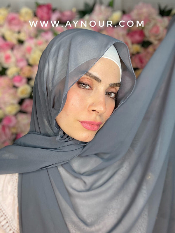 Dark gray new ribbon no pin chiffon scarf Instant Hijab 2021 - Aynour.com