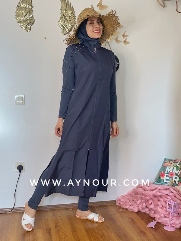 Dark gray with pearl full suit 4 pieces swimming wear hijab burkini Collection - Aynour.com