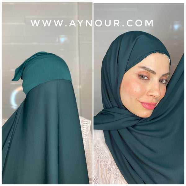 Dark green 2 layers inner cab and scarf Instant Hijab 2021 - Aynour.com