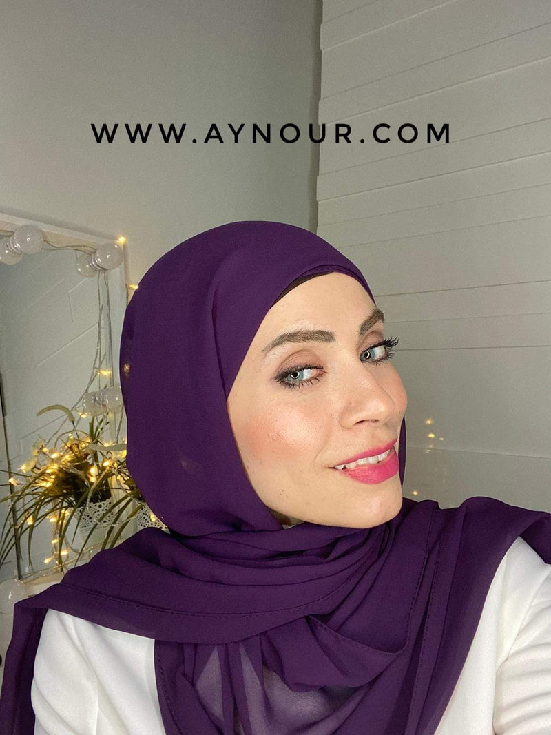 DARK PURPLE 2 layers inner cab and scarf Instant Hijab 2021 - Aynour.com