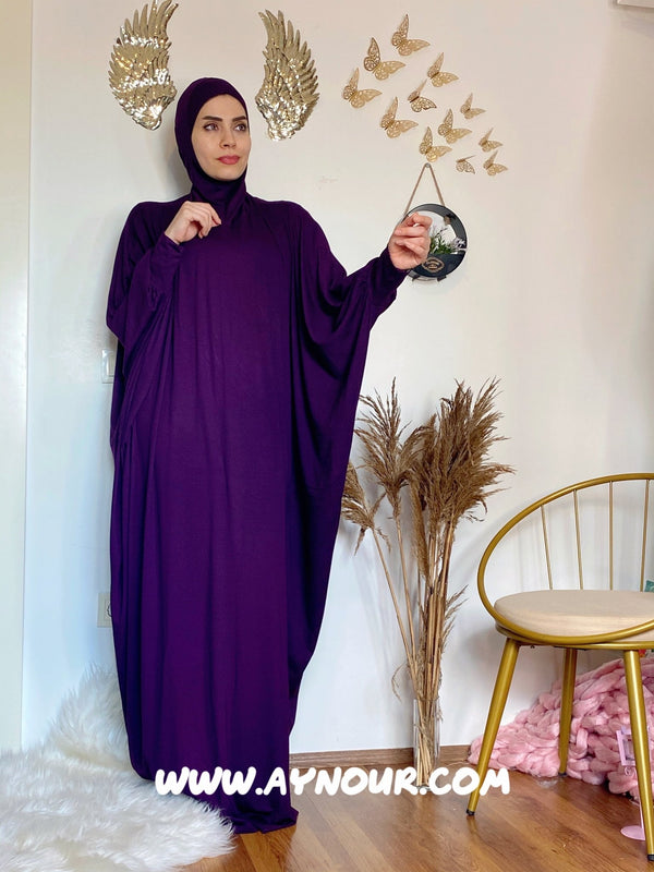 Dark purple Breathable Prayer 1Piece Headscarf and long jilbab abaya many styles Hijab Luxurious Cotton Lycra - Aynour.com