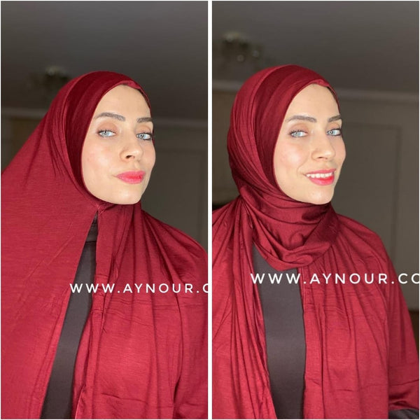 Dark Red cotton luxrious smart no pin scarf Instant Hijab 2021 - Aynour.com