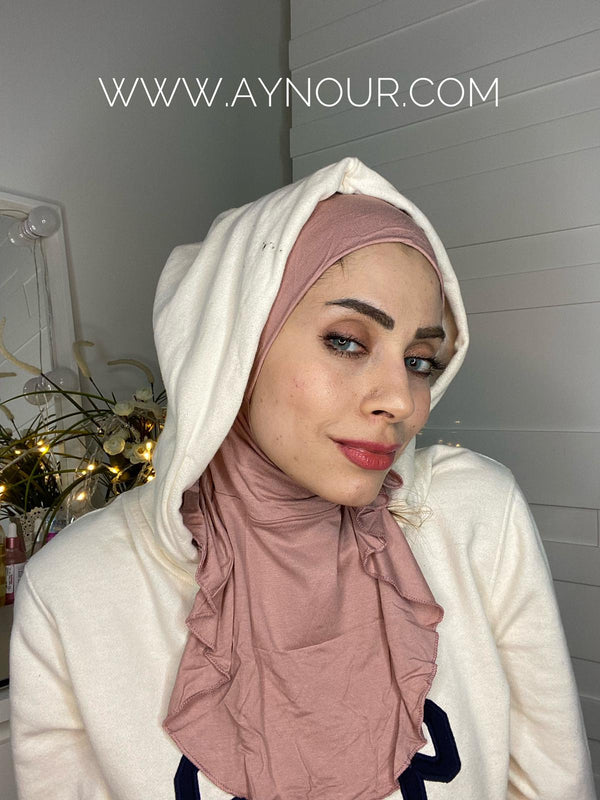 Dark Rose cap and neck covering sporty cotton Best Instant Hijab 2021 - Aynour.com