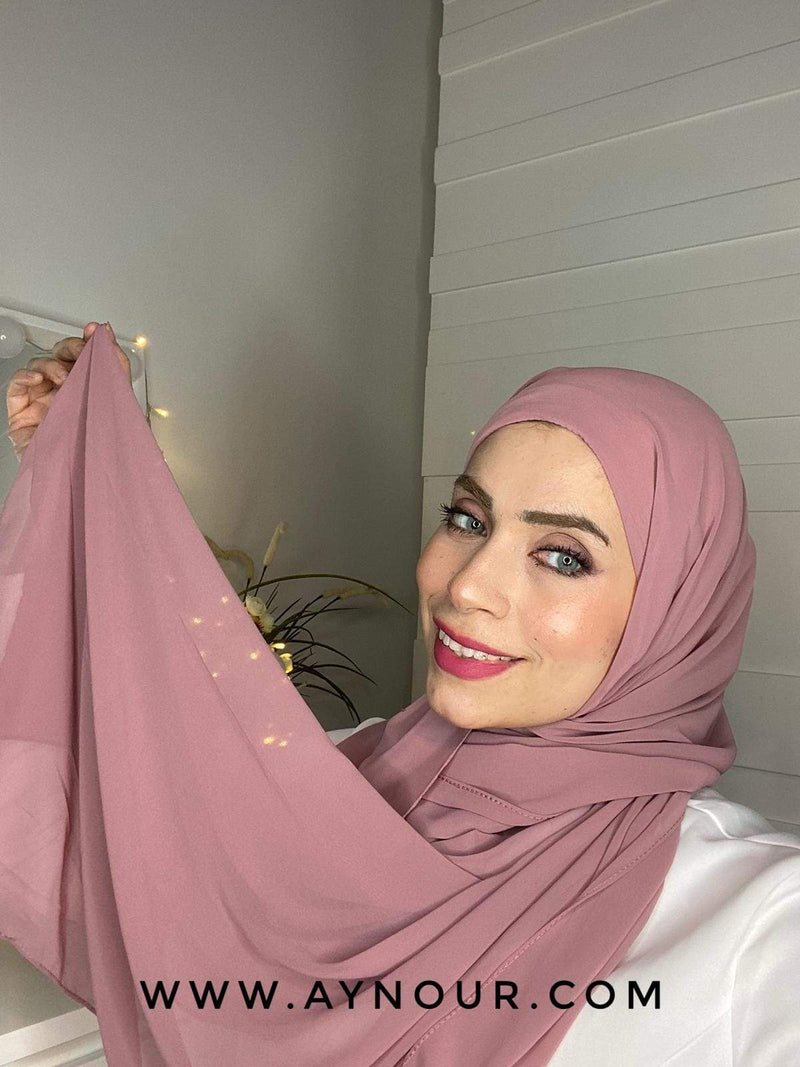 DARK ROSY 2 layers inner cab and scarf Instant Hijab 2021 - Aynour.com