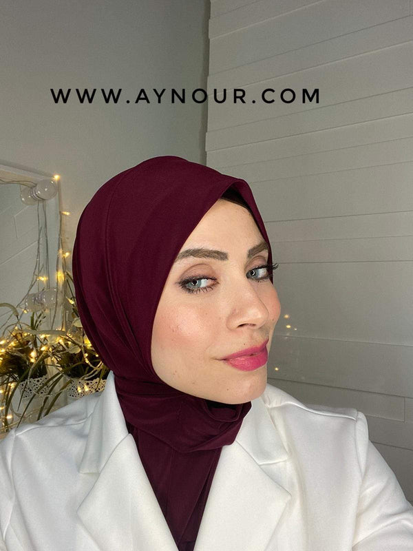 Deep raspberry color Best Instant Hijab 2021 - Aynour.com
