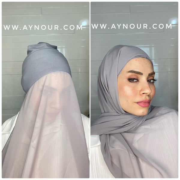Dove Gray 2 layers inner cab and scarf Instant Hijab 2021 - Aynour.com
