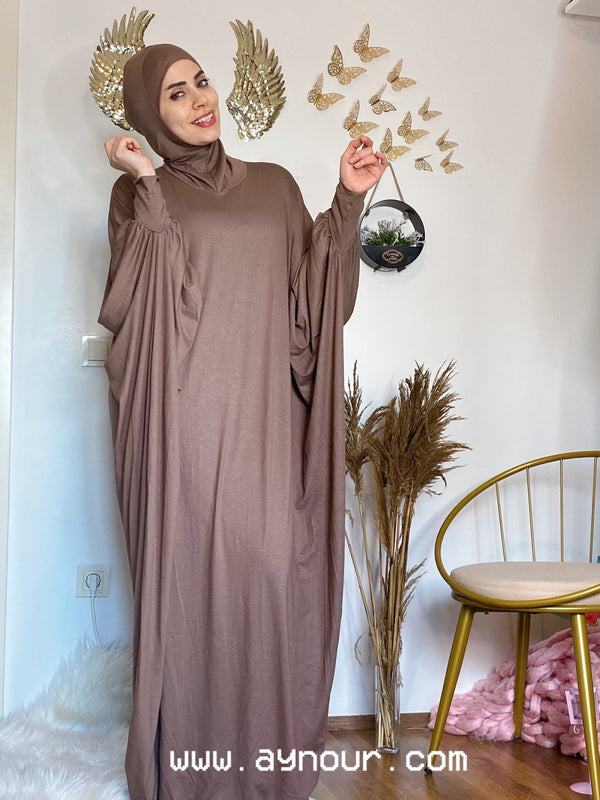 Elegant brown coffe Breathable Prayer 1Piece Headscarf and long jilbab abaya many styles Hijab Luxurious Cotton Lycra - Aynour.com